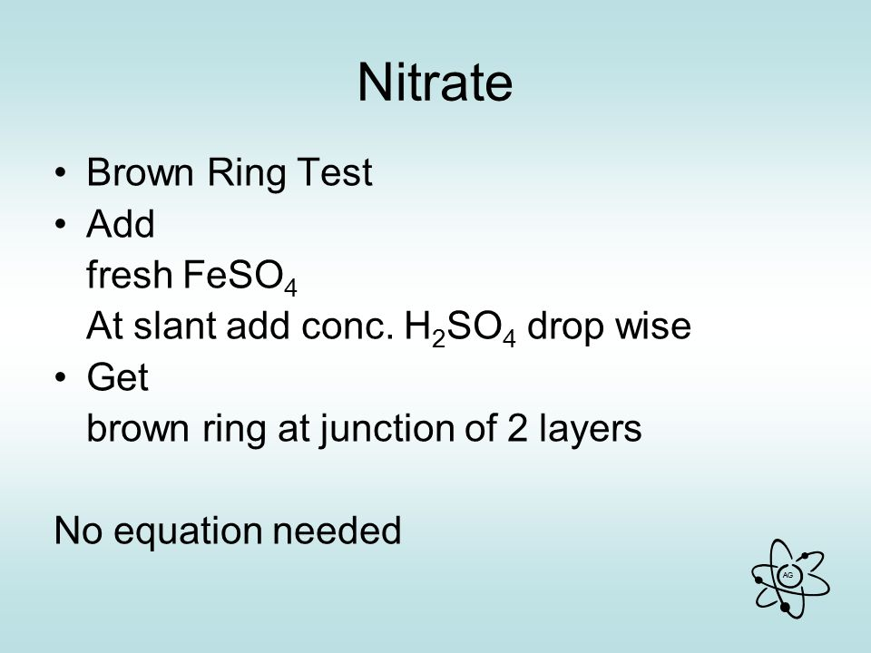 Nitrate Brown Ring Test Add fresh FeSO4