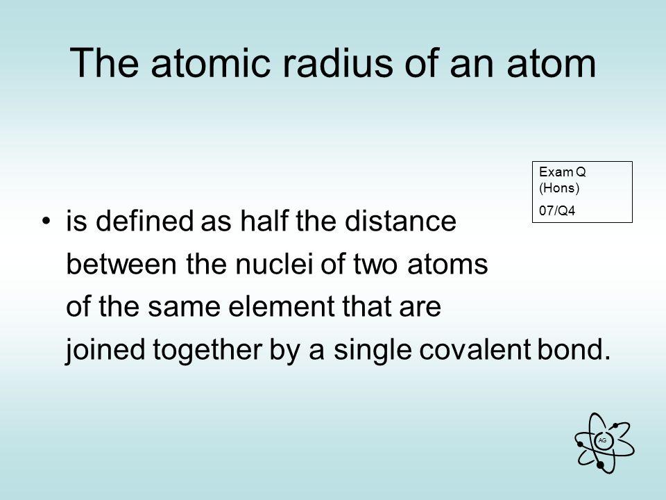 The atomic radius of an atom