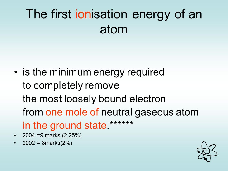 The first ionisation energy of an atom