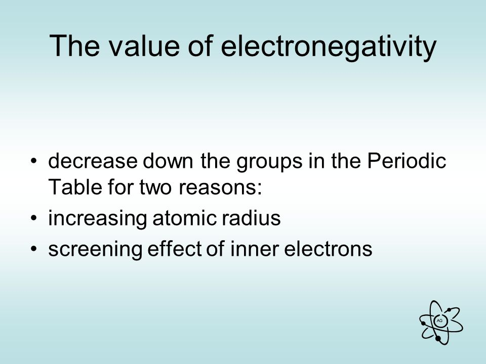 The value of electronegativity