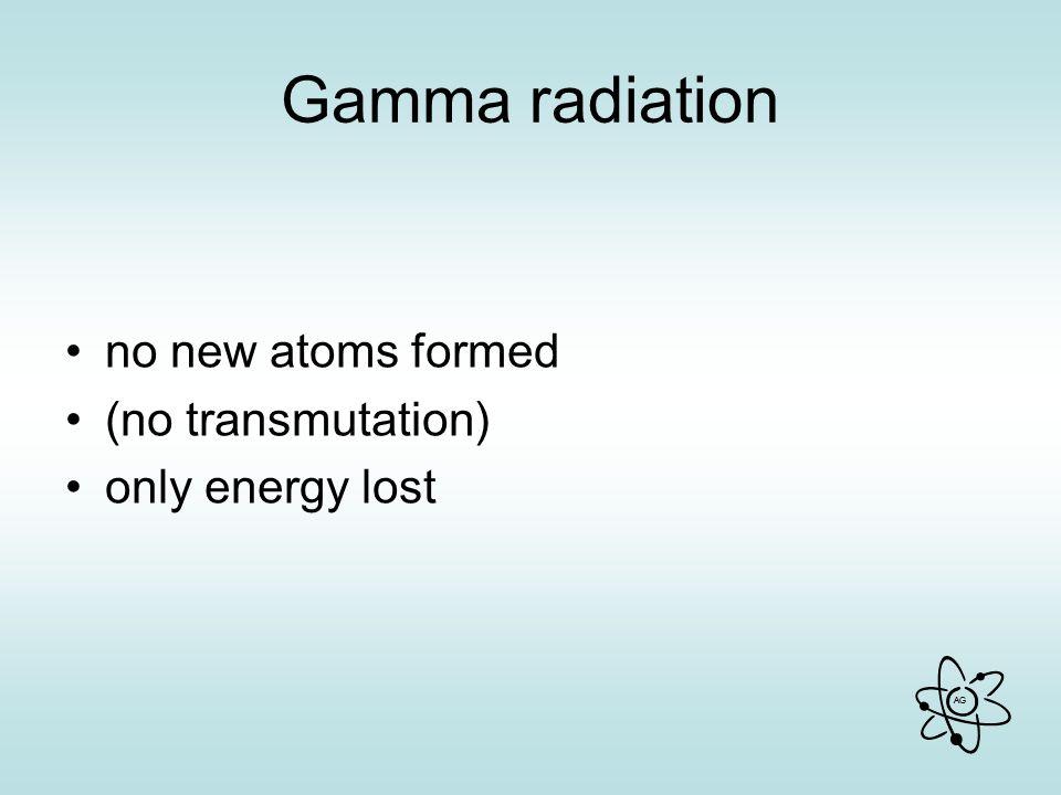 Gamma radiation no new atoms formed (no transmutation)