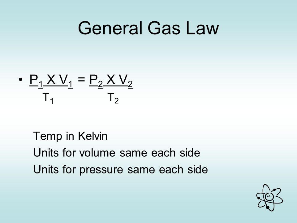 General Gas Law P1 X V1 = P2 X V2 T1 T2 Temp in Kelvin