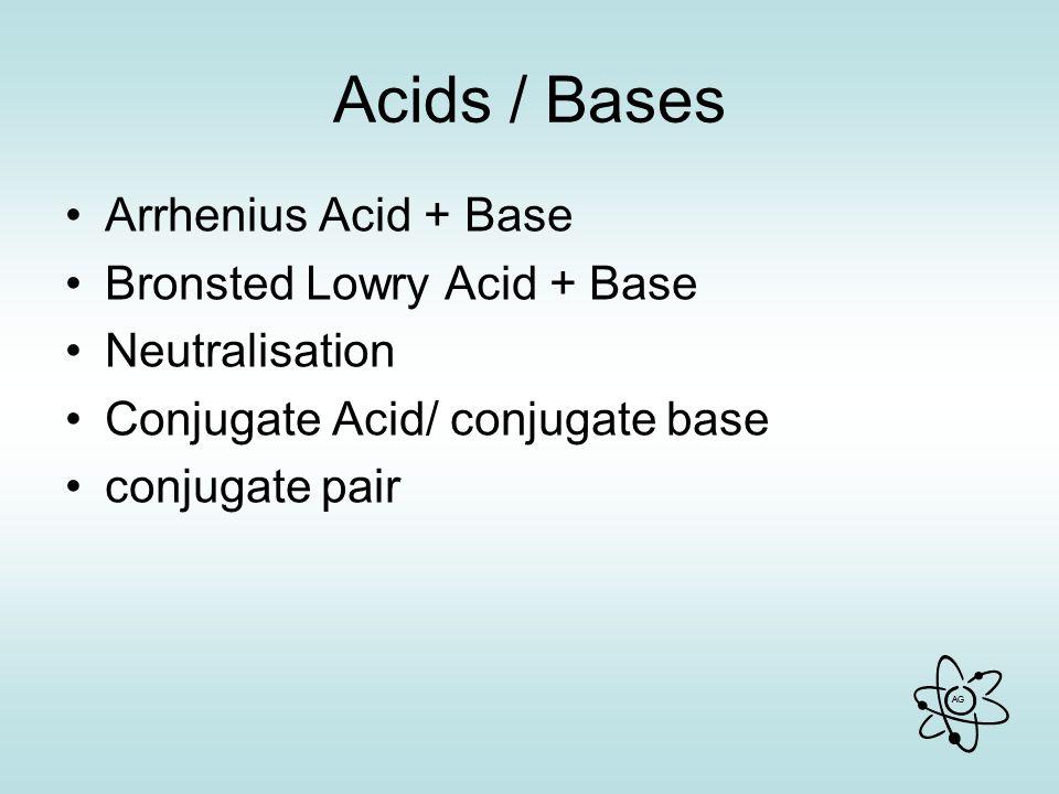 Acids / Bases Arrhenius Acid + Base Bronsted Lowry Acid + Base