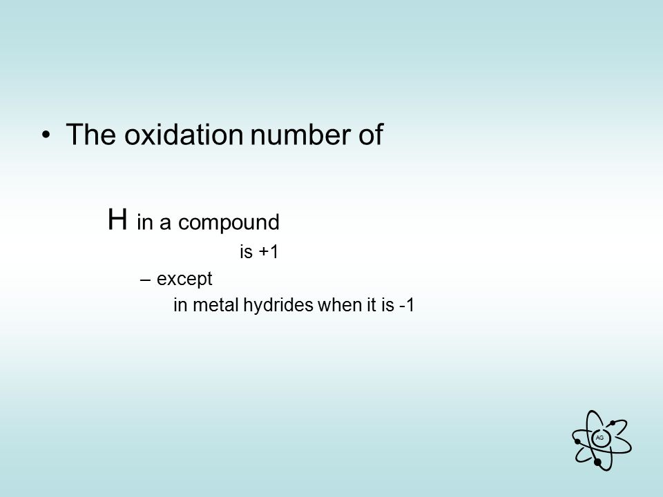 The oxidation number of H in a compound