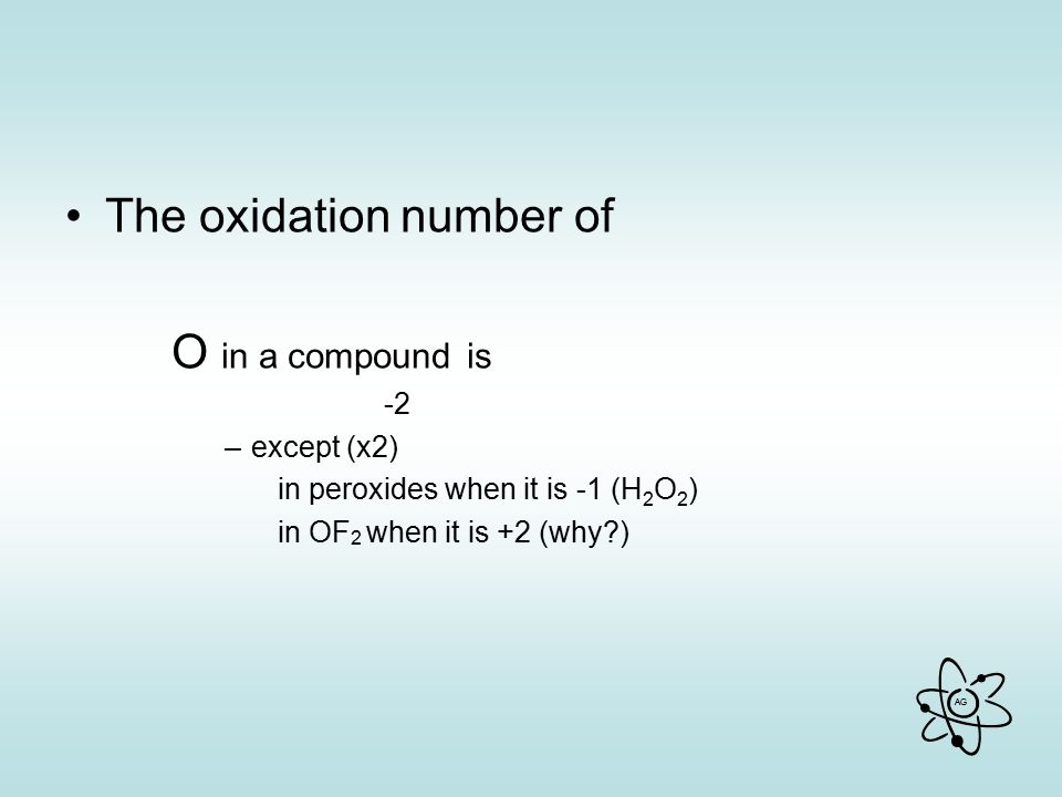 The oxidation number of O in a compound is