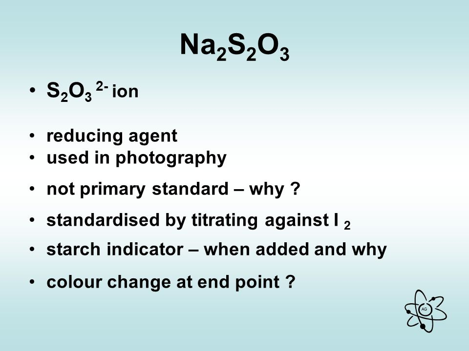 Na2S2O3 S2O3 2- ion reducing agent used in photography