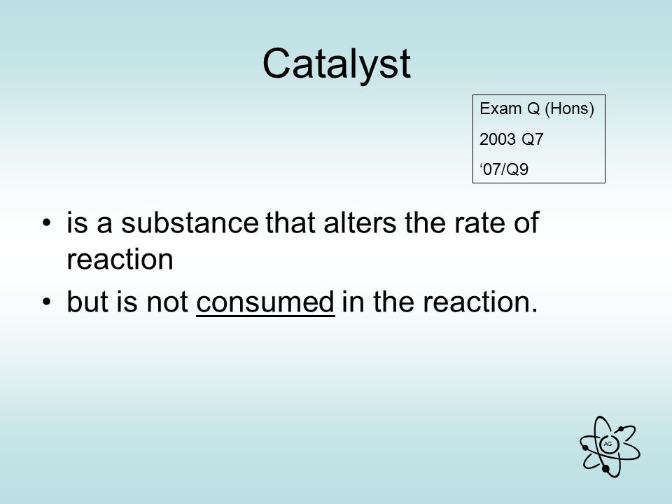 Catalyst is a substance that alters the rate of reaction