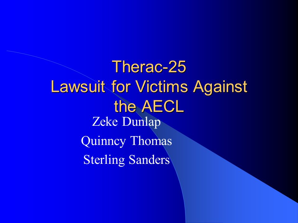 Therac-25 Lawsuit for Victims Against the AECL