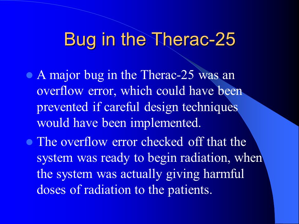 Bug in the Therac-25
