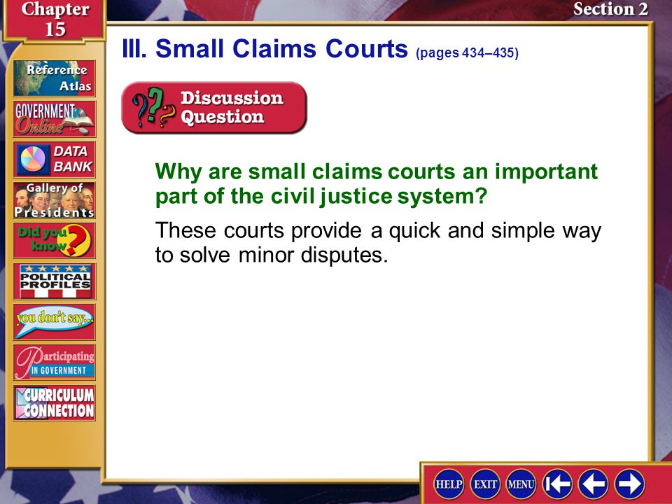 III. Small Claims Courts (pages 434–435)