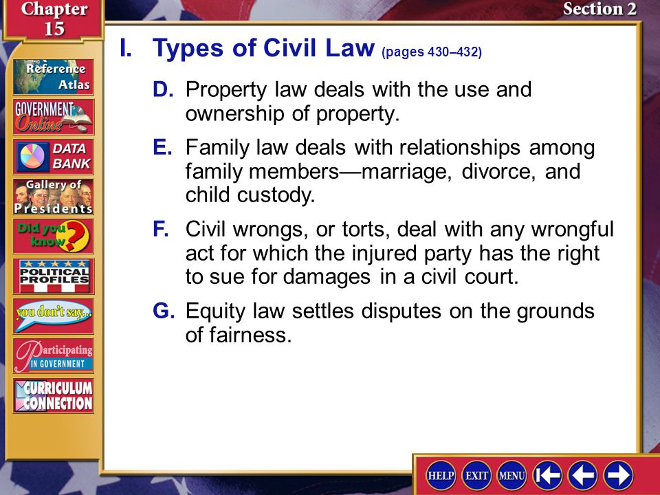 I. Types of Civil Law (pages 430–432)