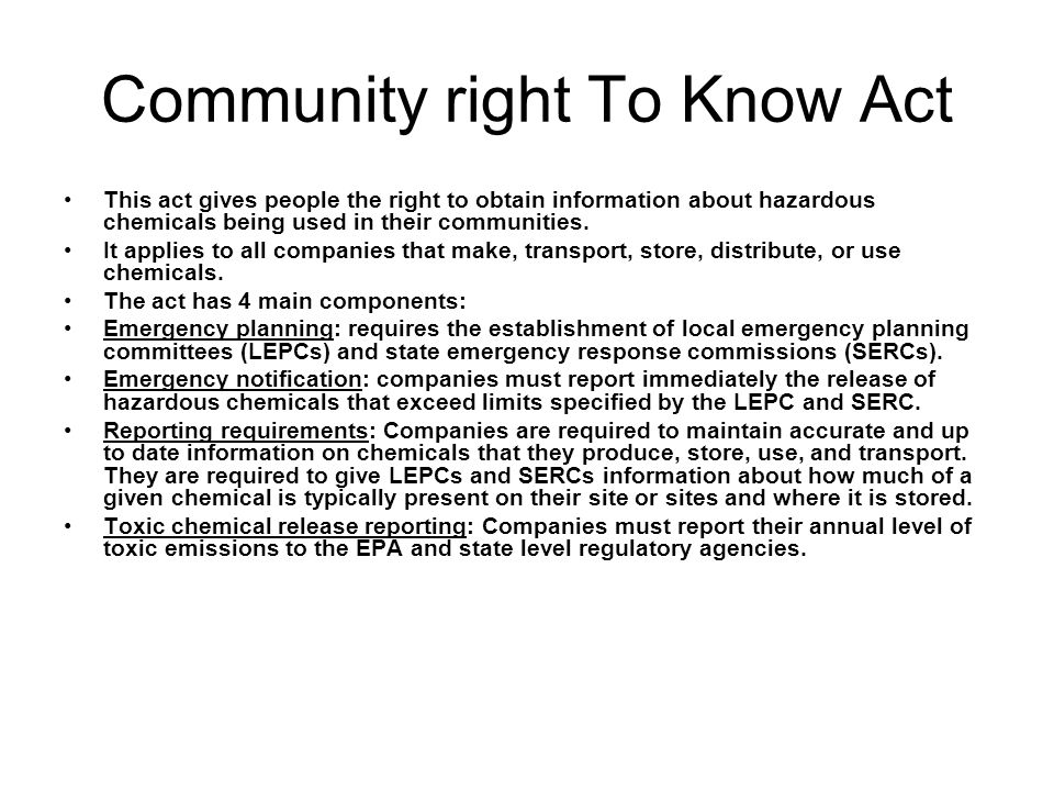 Community right To Know Act