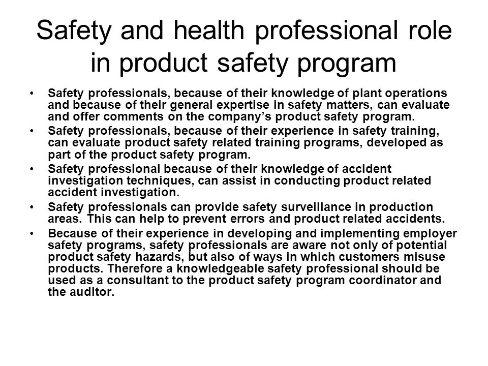 Safety and health professional role in product safety program