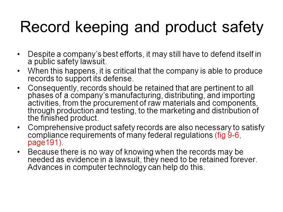 Record keeping and product safety