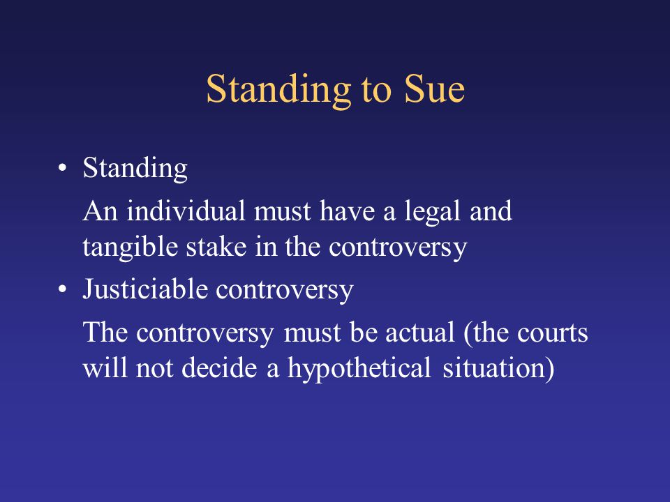 Standing to Sue Standing