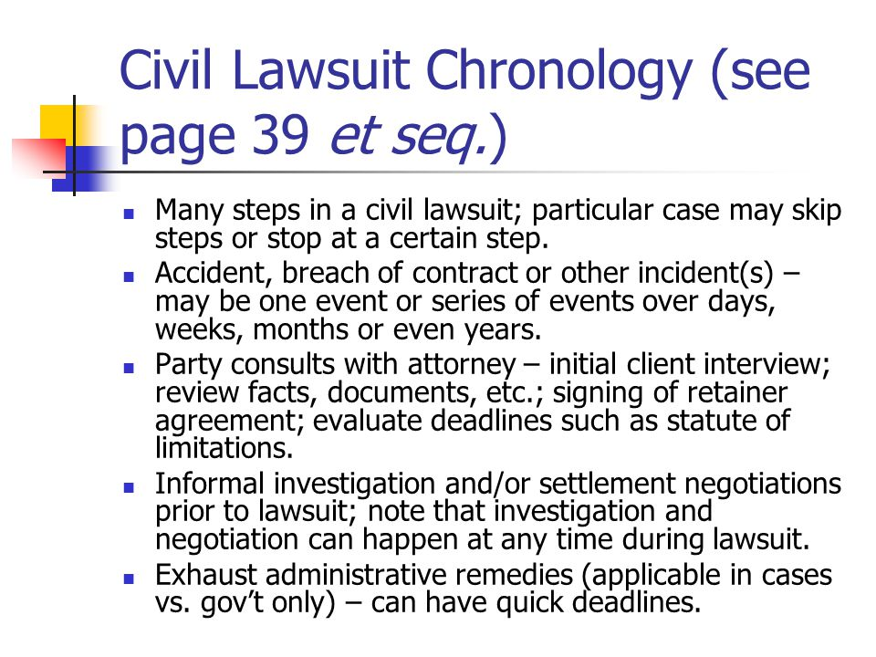 Civil Lawsuit Chronology (see page 39 et seq.)