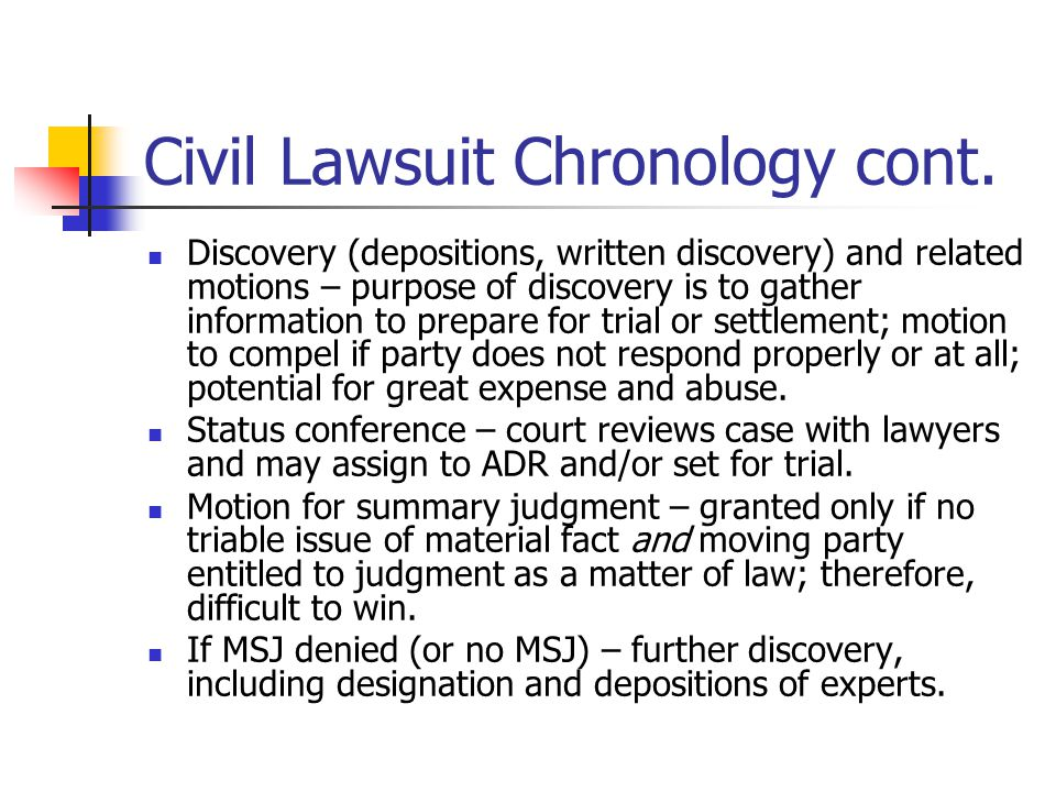 Civil Lawsuit Chronology cont.