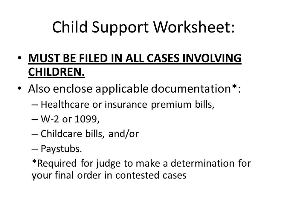 Child Support Worksheet:
