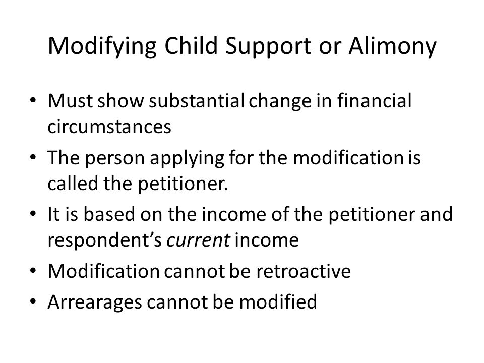 Modifying Child Support or Alimony