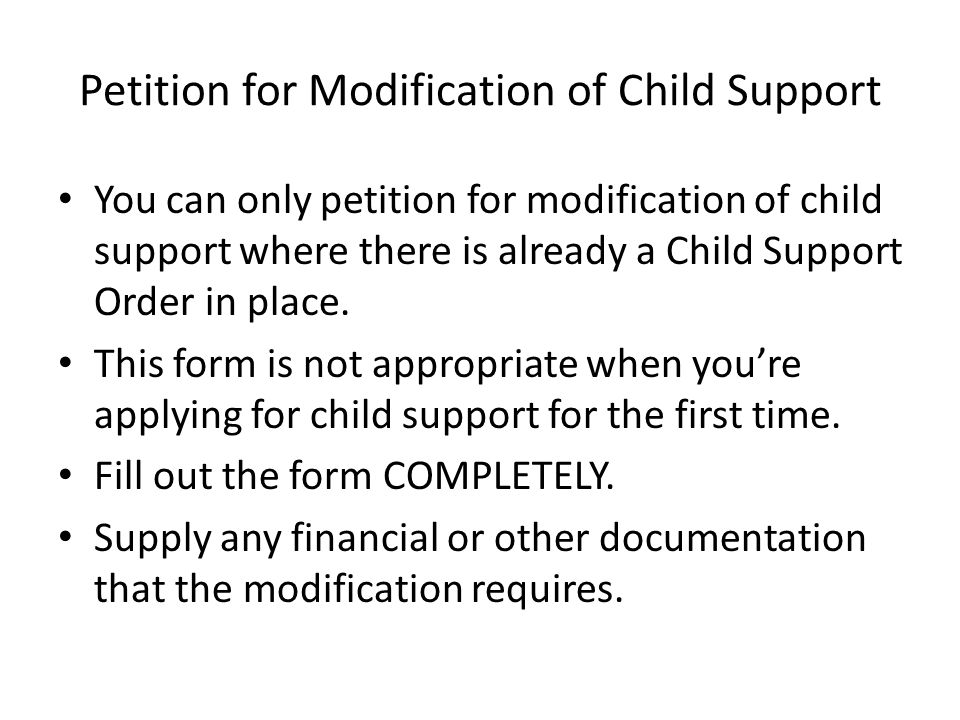 Petition for Modification of Child Support