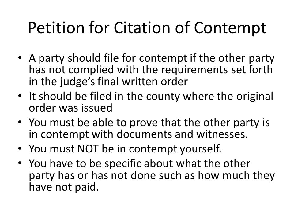 Petition for Citation of Contempt