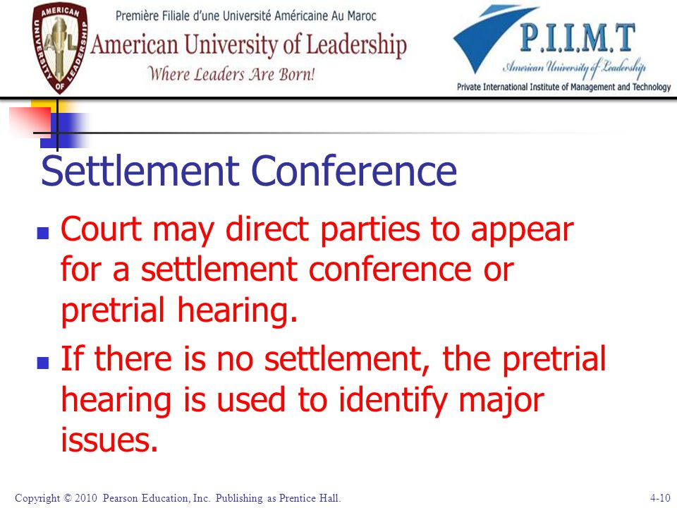 Settlement Conference