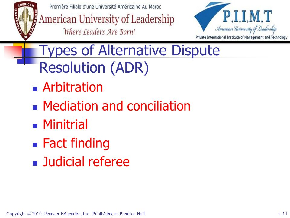 Types of Alternative Dispute Resolution (ADR)