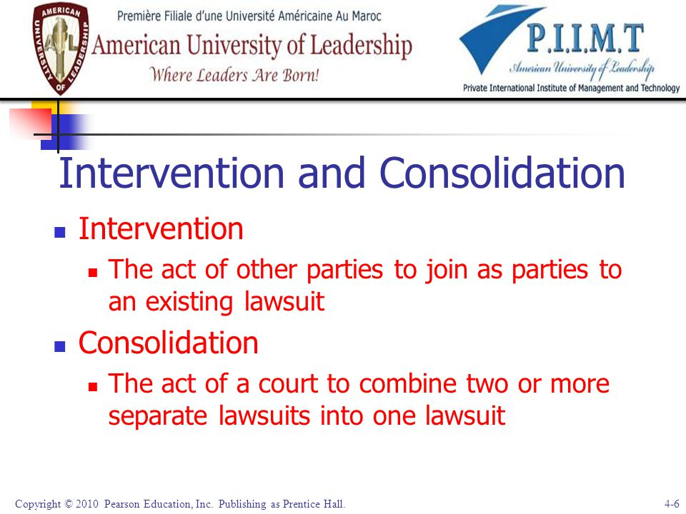 Intervention and Consolidation