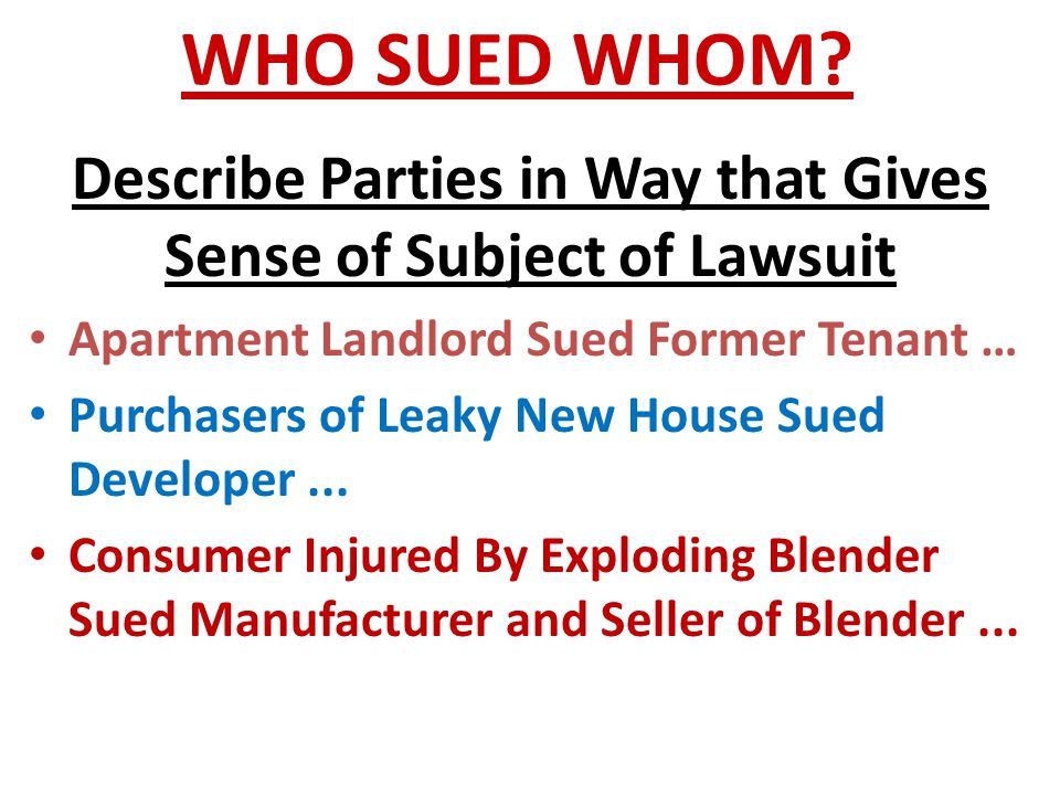 Describe Parties in Way that Gives Sense of Subject of Lawsuit