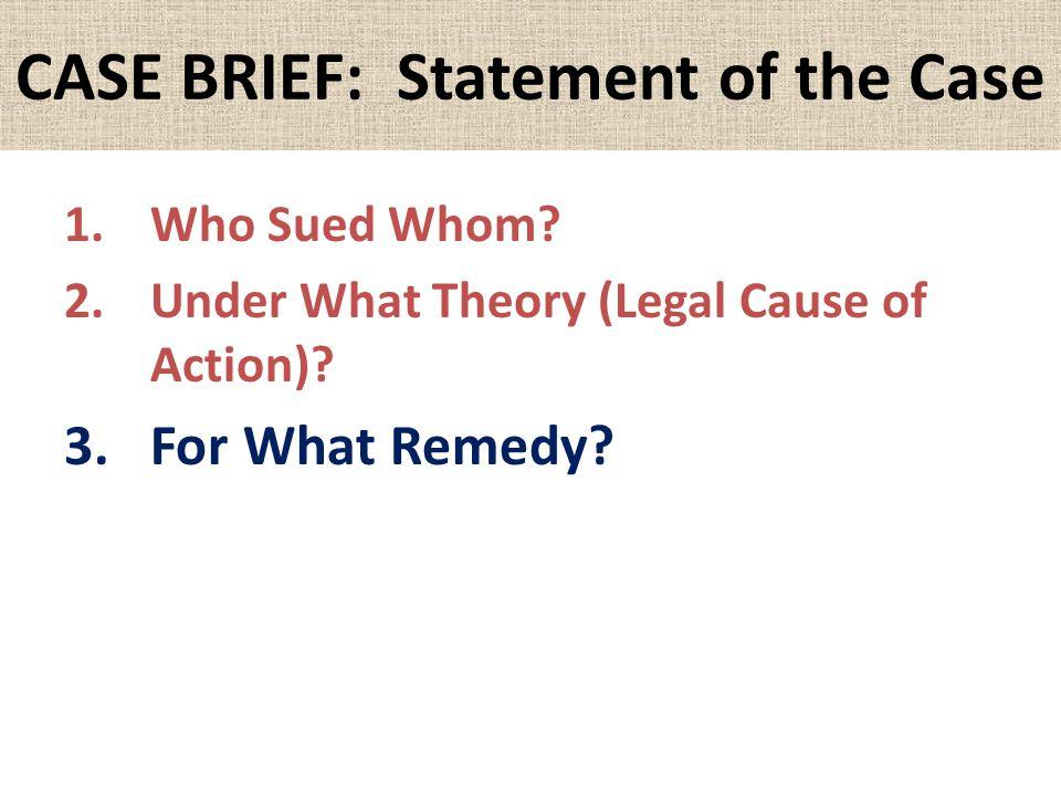 CASE BRIEF: Statement of the Case