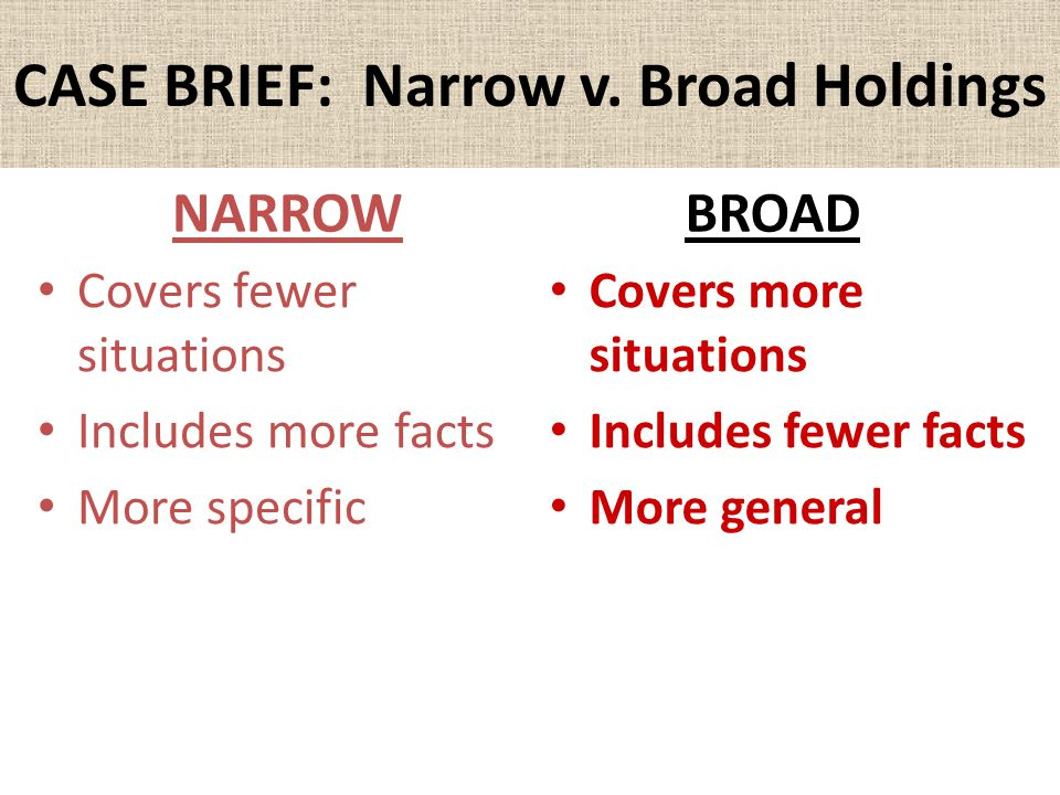 CASE BRIEF: Narrow v. Broad Holdings