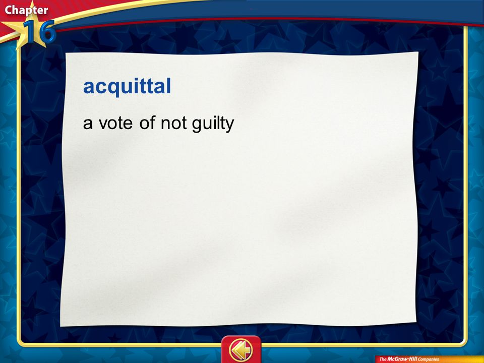acquittal a vote of not guilty Vocab16