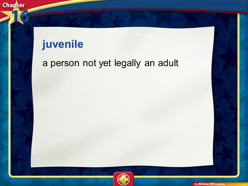 juvenile a person not yet legally an adult Vocab21