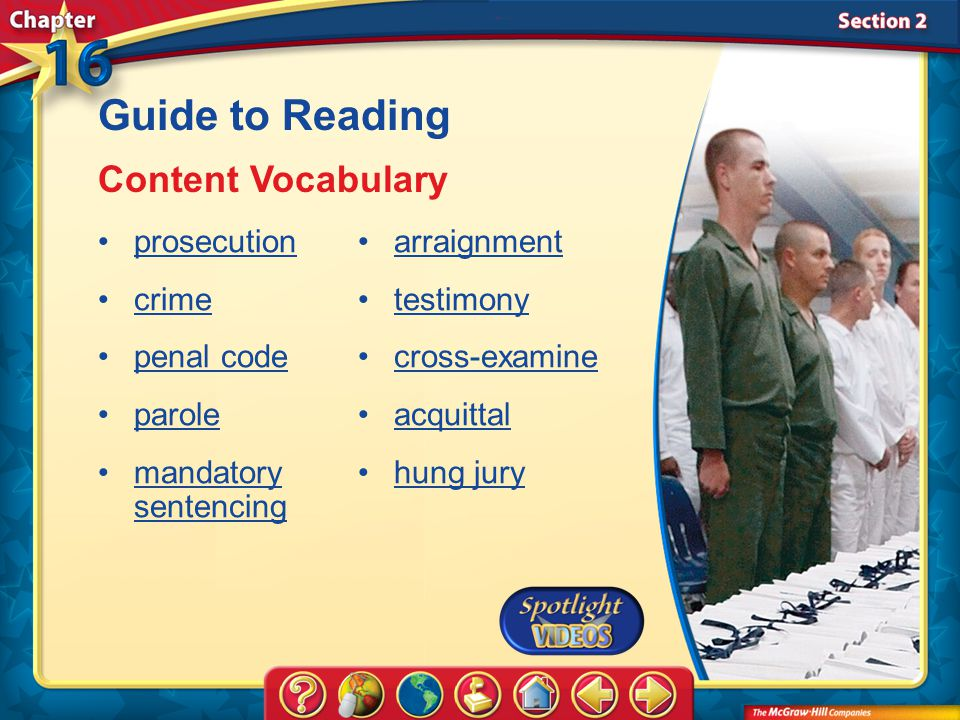 Guide to Reading Content Vocabulary prosecution crime penal code