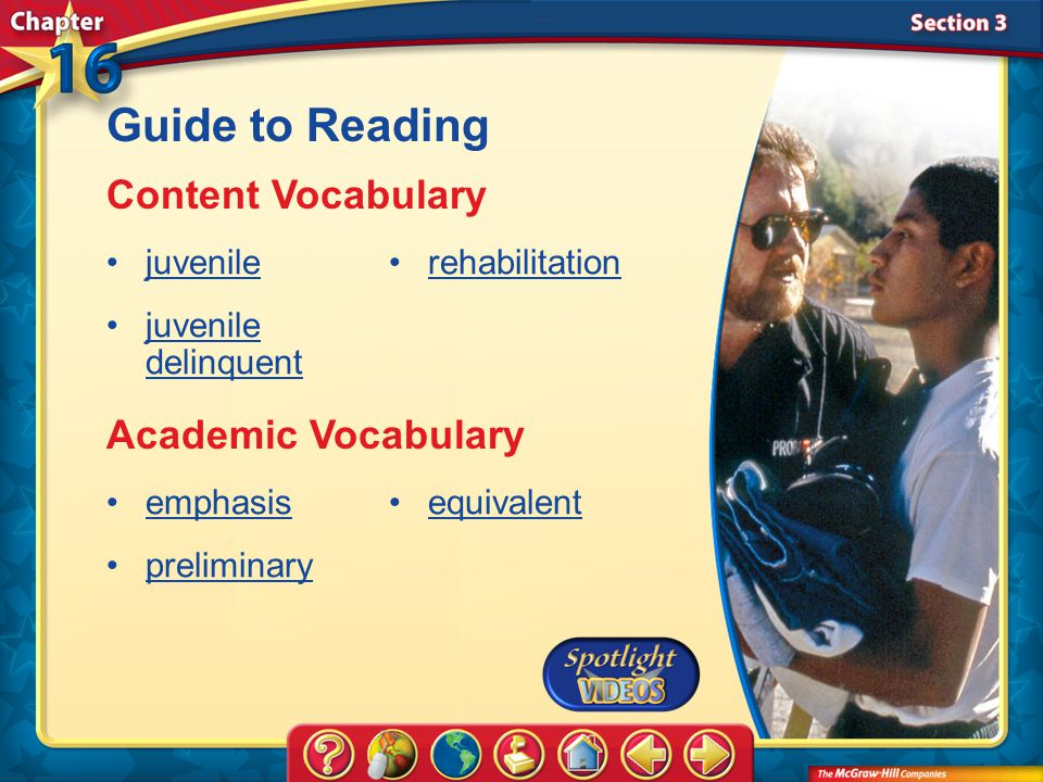 Guide to Reading Content Vocabulary Academic Vocabulary juvenile