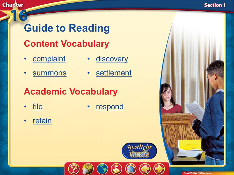 Guide to Reading Content Vocabulary Academic Vocabulary complaint