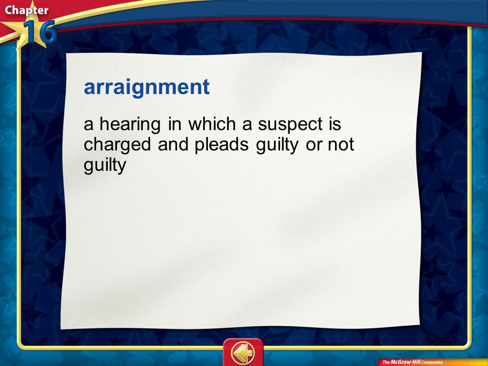 arraignment a hearing in which a suspect is charged and pleads guilty or not guilty Vocab13