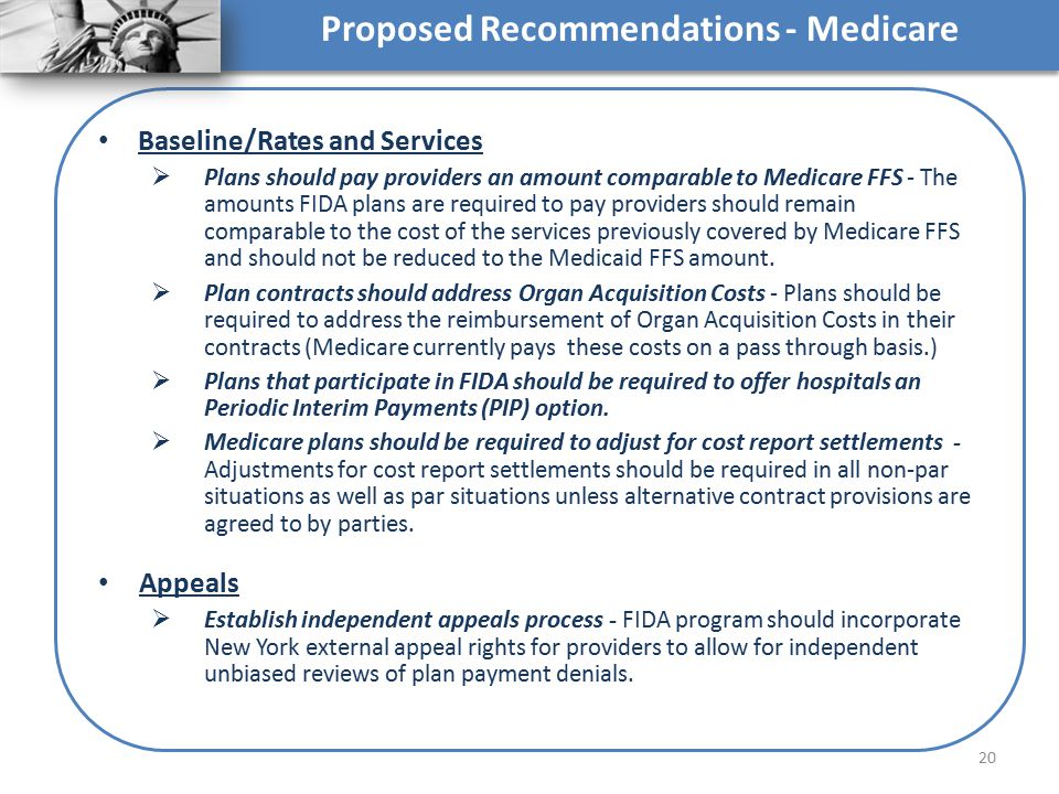 Proposed Recommendations - Medicare