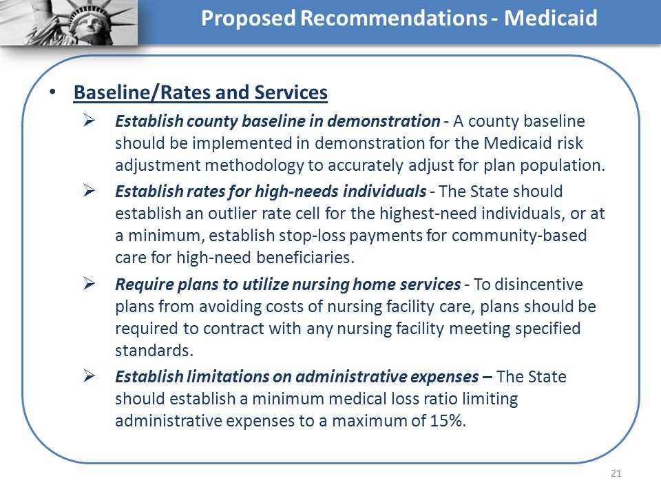 Proposed Recommendations - Medicaid