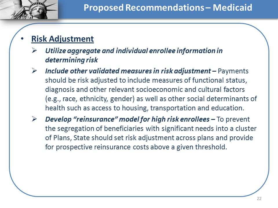 Proposed Recommendations – Medicaid