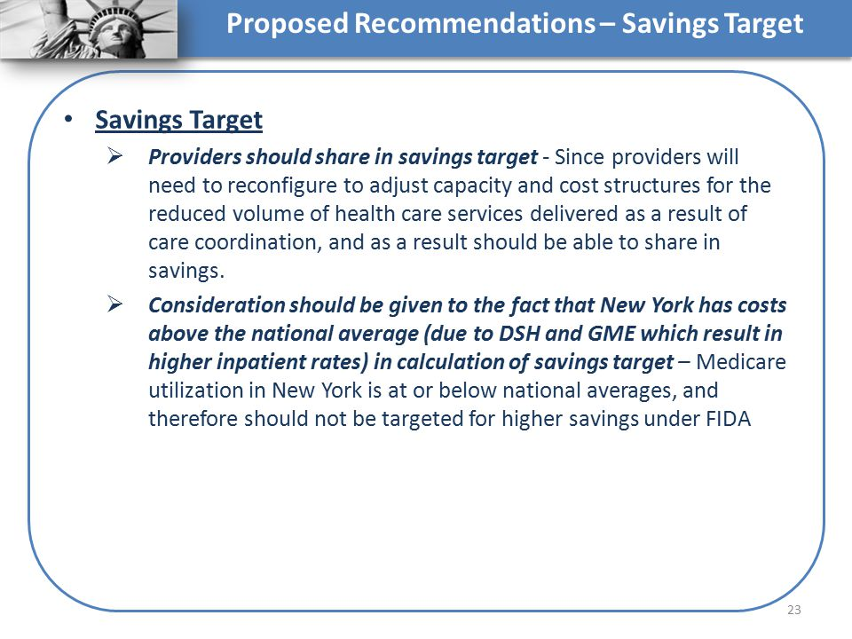 Proposed Recommendations – Savings Target