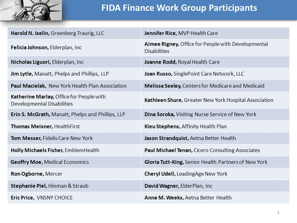 FIDA Finance Work Group Participants