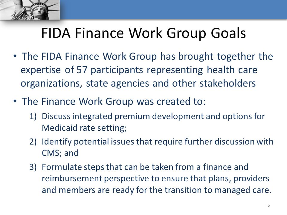 FIDA Finance Work Group Goals
