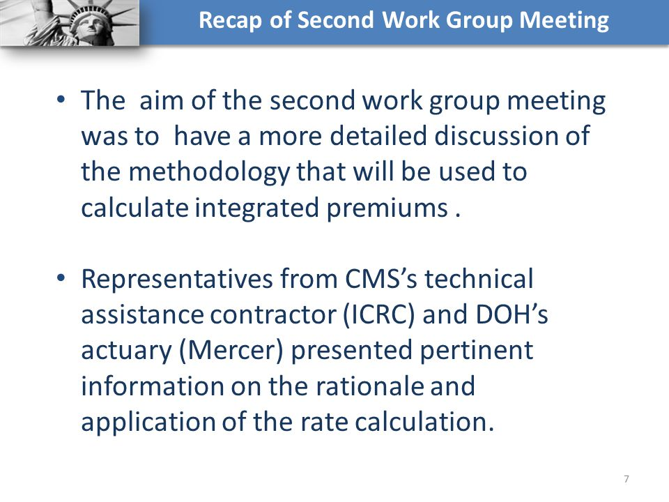 Recap of Second Work Group Meeting