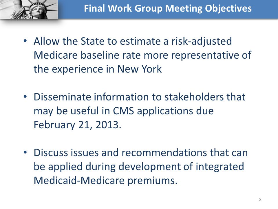 Final Work Group Meeting Objectives