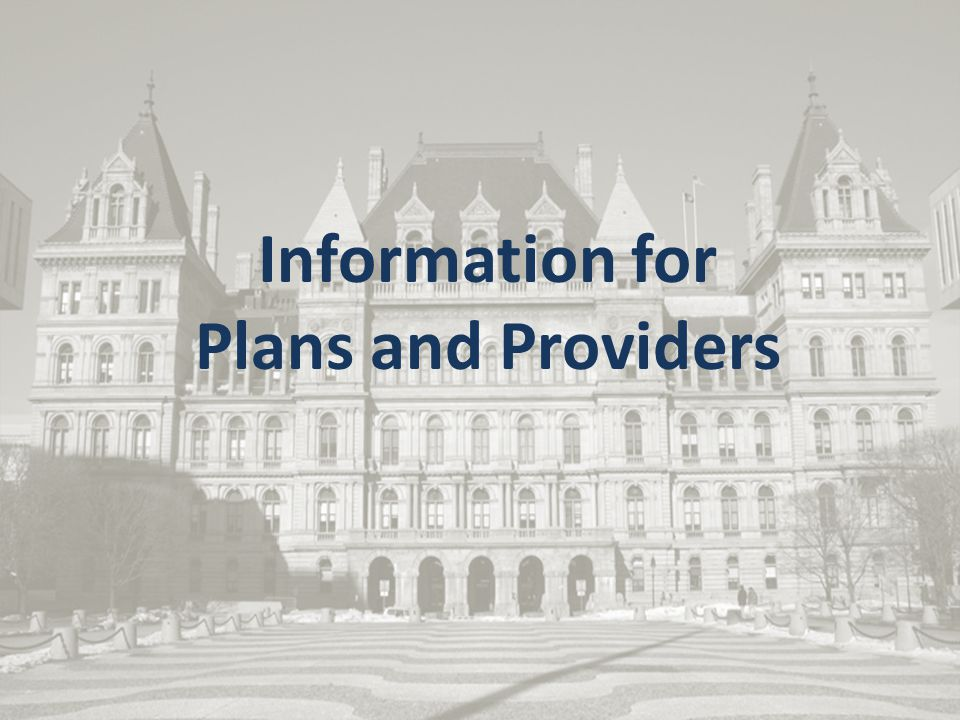 Information for Plans and Providers