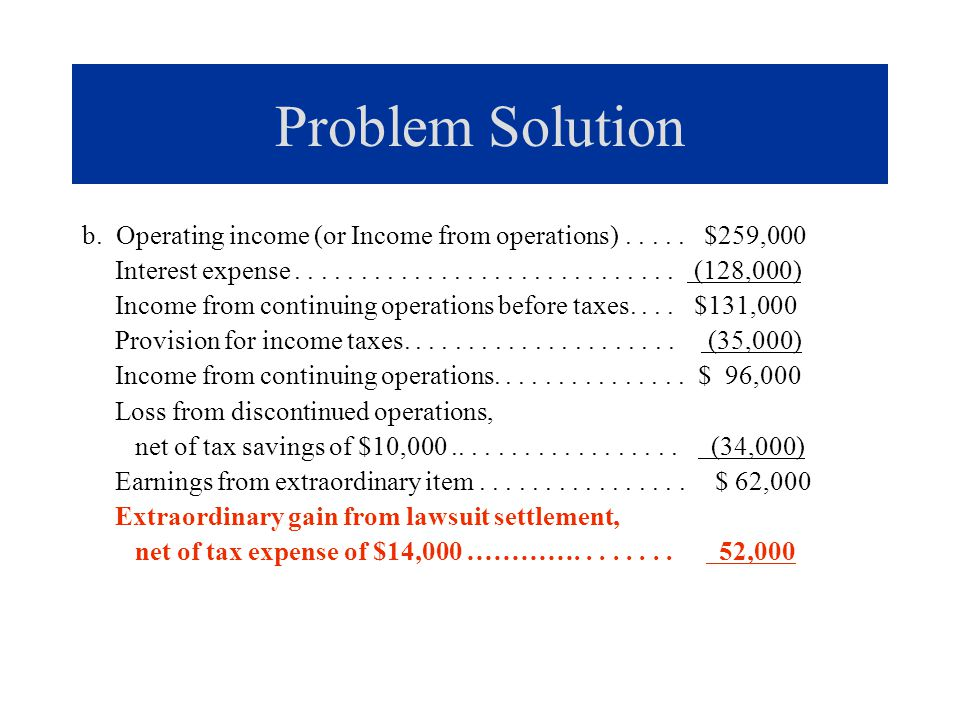 Problem Solution b. Operating income (or Income from operations) . . . . . $259,000.