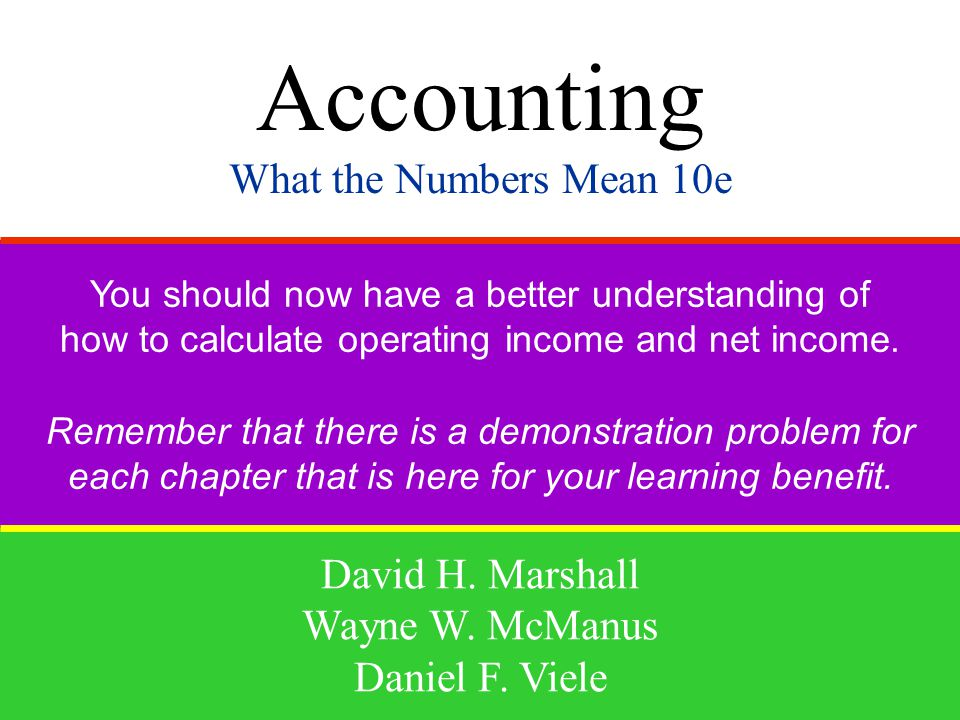 Accounting What the Numbers Mean 10e David H. Marshall