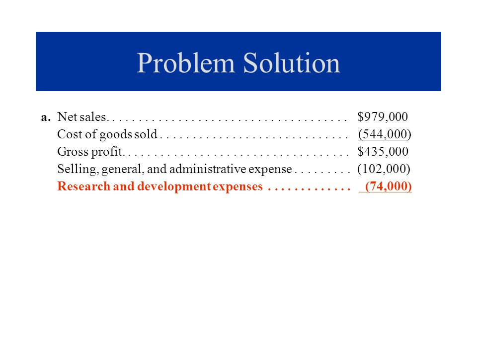 Problem Solution a. Net sales. . . . . . . . . . . . . . . . . . . . . . . . . . . . . . . . . . . . . $979,000.