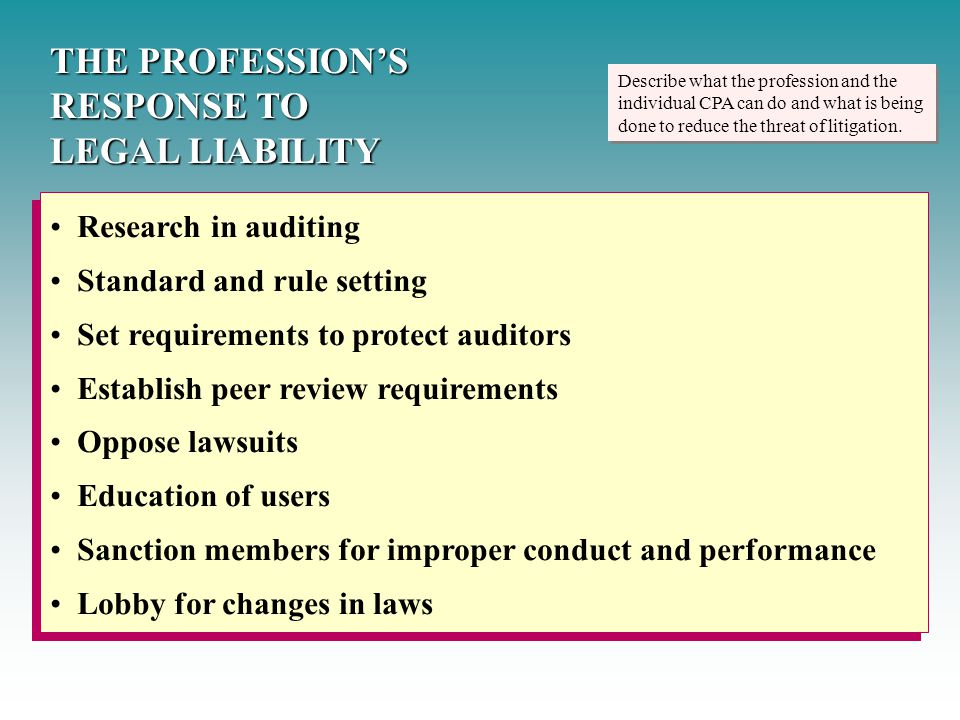 auditor liability in canada Accountants' liability for negligence-a contemporary approach for a modern profession introduction liability to third parties is no longer appropriate in negligence actions against [tihe purpose of any audit is to enable an auditor to understand the subject matter to the extent.